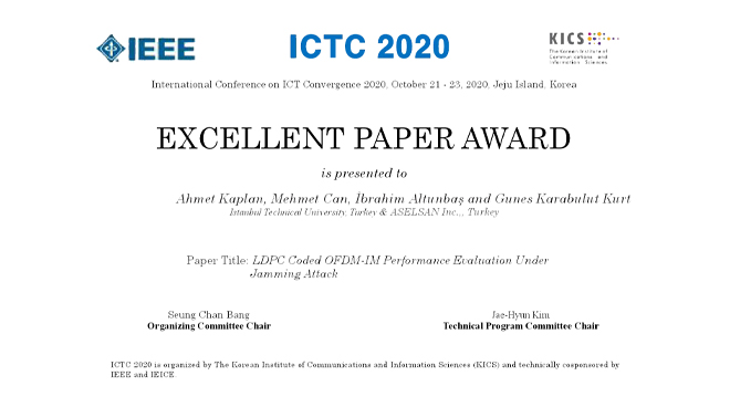 """Excellent Paper Award"" to Our Scientists in ICTC 2020 Conference Görseli"