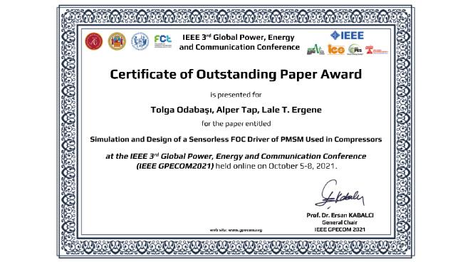 Öğrencilerimize IEEE'den Üstün Bildiri Ödülü Görseli