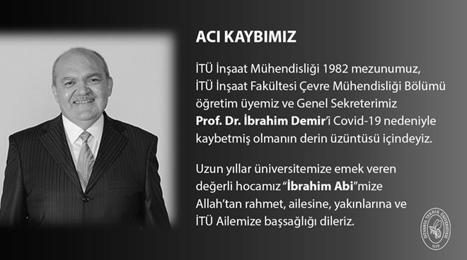 Genel Sekreterimiz Prof. Dr. İbrahim Demir Hayatını Kaybetti Görseli